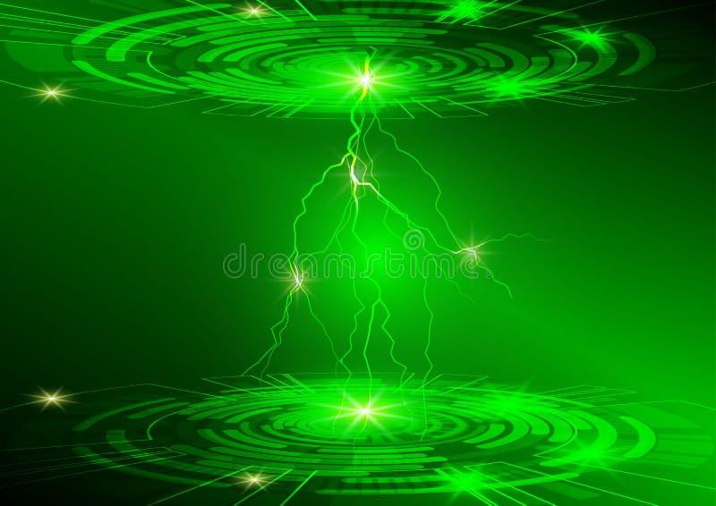 Grüner Kreis- und Lichttechnologiehintergrund, abstraktes digitales Konzept lizenzfreie abbildung
