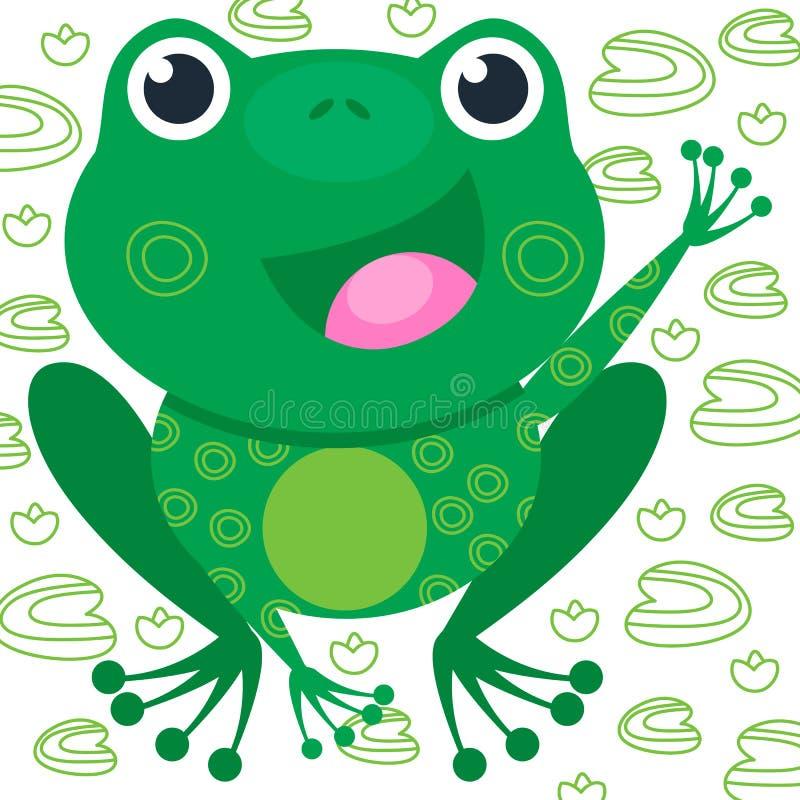 Grüner lustiger Frosch auf dem weißen Hintergrund mit Lilie Lächeln des Tieres Vektorillustration, Karikaturbaby vektor abbildung