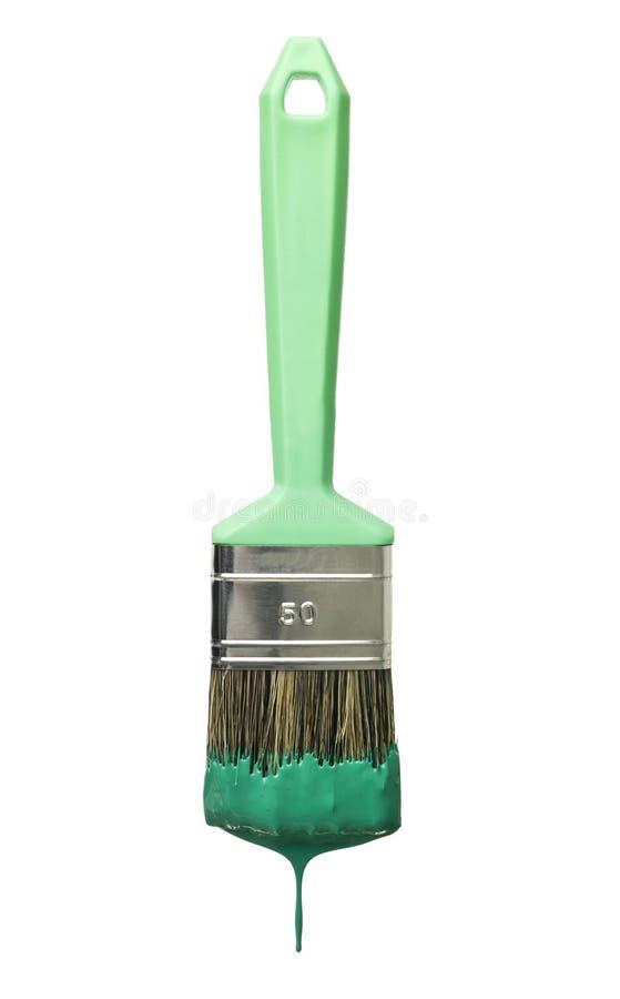 Grüner Malerpinsel lizenzfreies stockbild