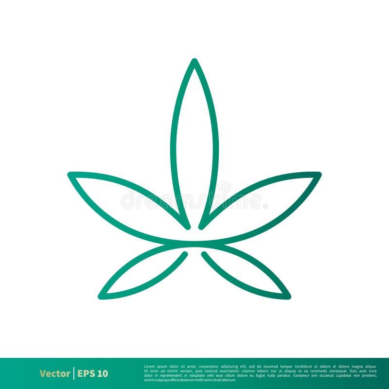 Grüner Marihuana-Hanf-Blatt-Ikonen-Vektor Logo Template Illustration Design Vektor ENV 10 vektor abbildung