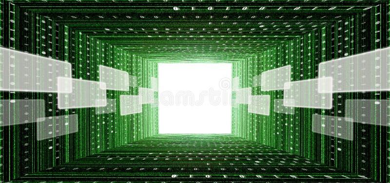 Grüner Matrixtunnel mit Screenschnittstelle lizenzfreie abbildung
