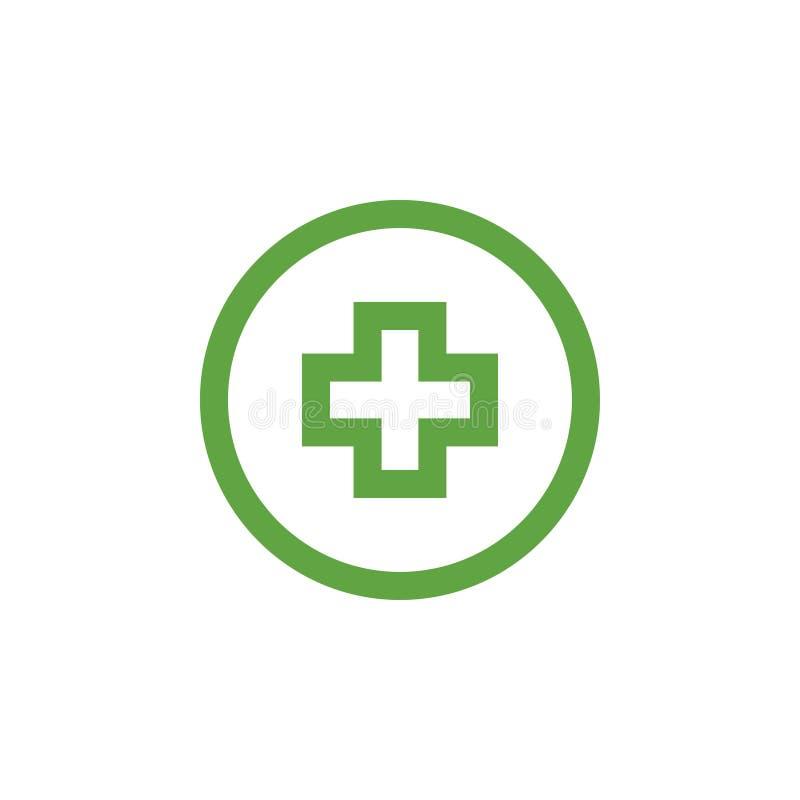 Gr?ner medizinischer Quergrafikdesignschablonenvektor lizenzfreie abbildung