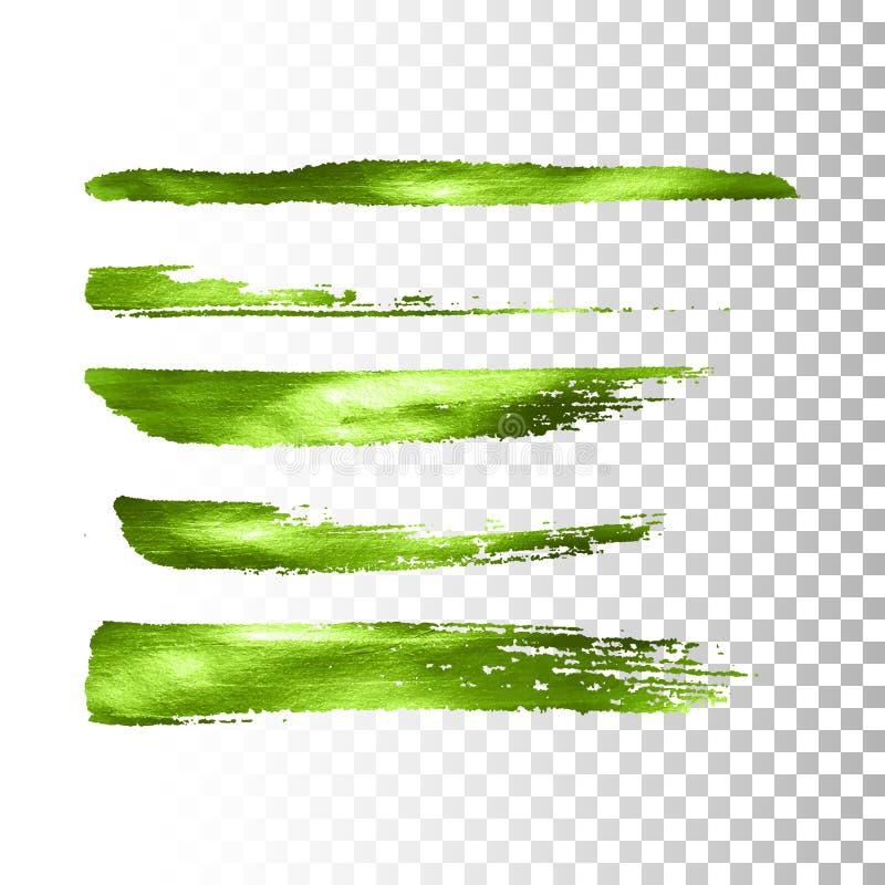 Grüner metallischer Pinselanschlagsatz lizenzfreie abbildung