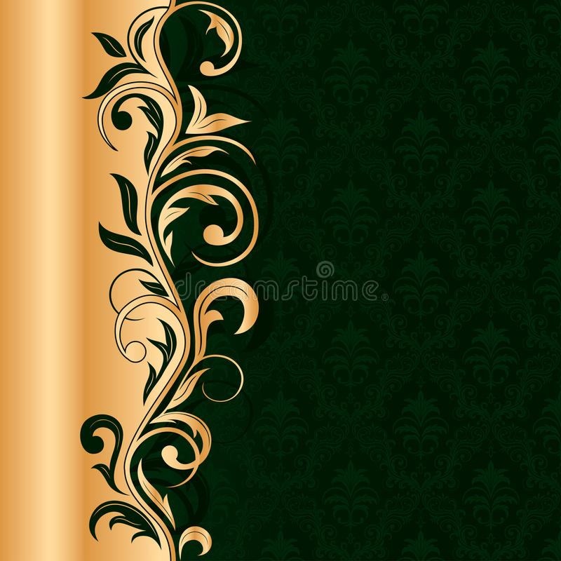 Grüner nahtloser Hintergrund mit Goldmuster stock abbildung