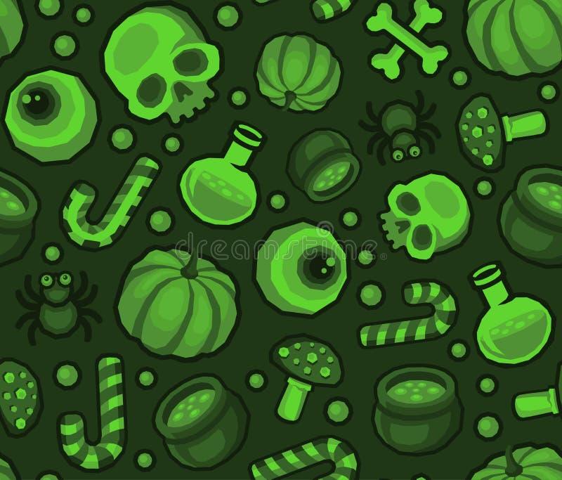Grüner nahtloser Muster-Hintergrund Halloweens mit Spinne, dem Schädel, Kürbis, Süßigkeit, den Knochen und Auge lizenzfreie abbildung