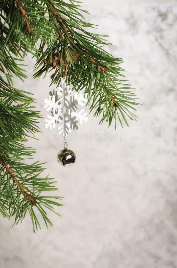 Grüner natürlicher Weihnachtsbaum und Weihnachtsbälle mit Schnee auf a stockfotografie