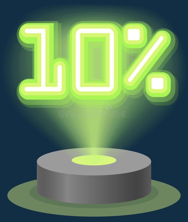 Grüner Neonlicht-Rabatt-Verkauf 10 Prozent Hologramm Cyber-Montag-Zeichen-Vektor vektor abbildung