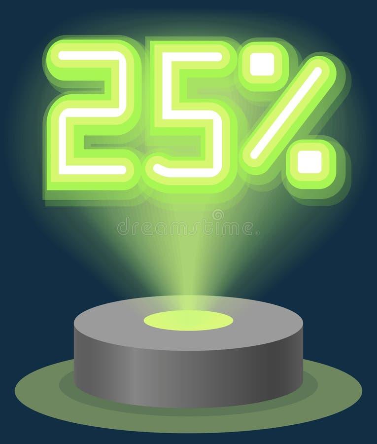 Grüner Neonlicht-Rabatt-Verkauf 25 Prozent Hologramm Cyber-Montag-Zeichen-Vektor vektor abbildung