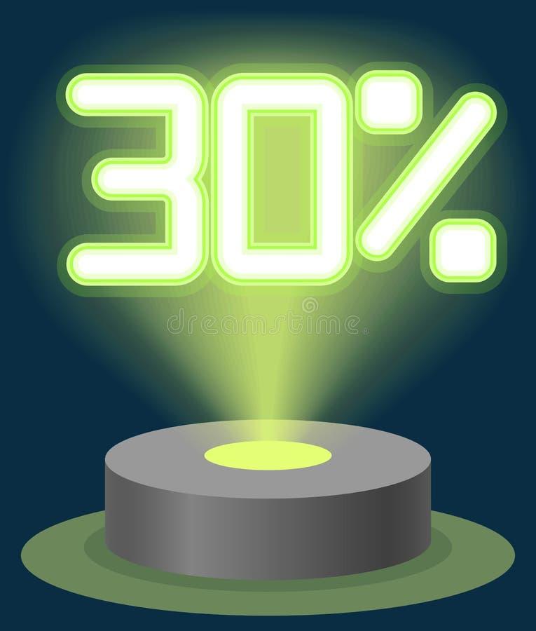 Grüner Neonlicht-Rabatt-Verkauf 30 Prozent Hologramm Cyber-Montag-Zeichen-Vektor stock abbildung