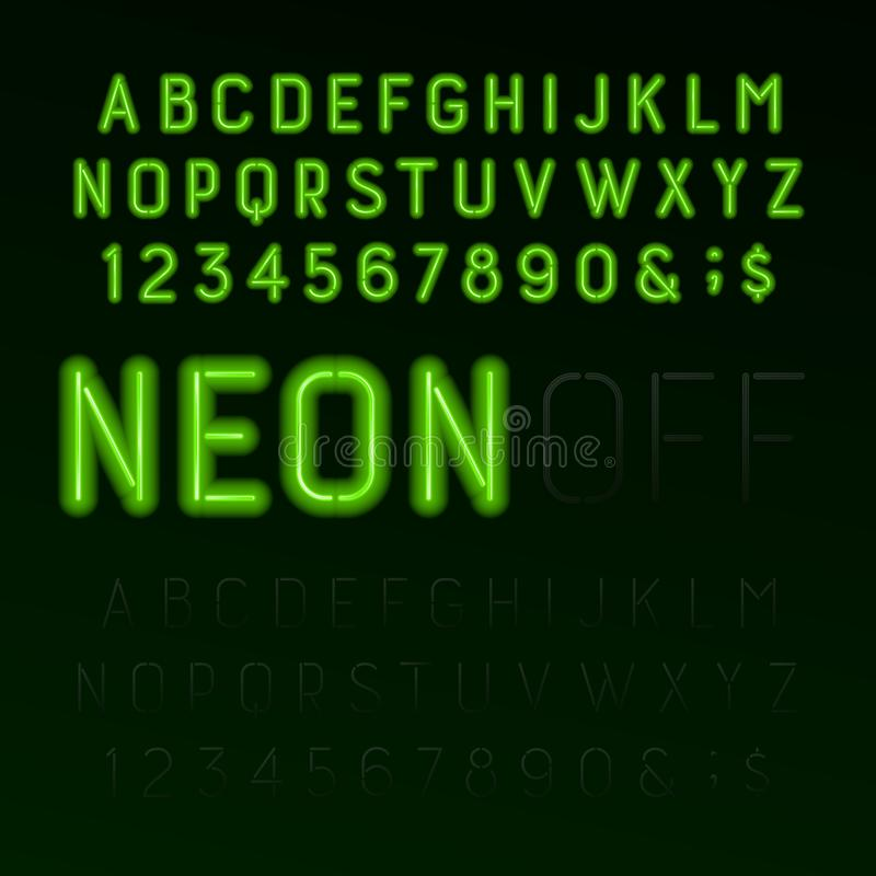 Grüner Neonröhrealphabetguß Neonfarbbuchstaben, -zahlen und -symbole angeschaltet und ausgeschaltet vektor abbildung