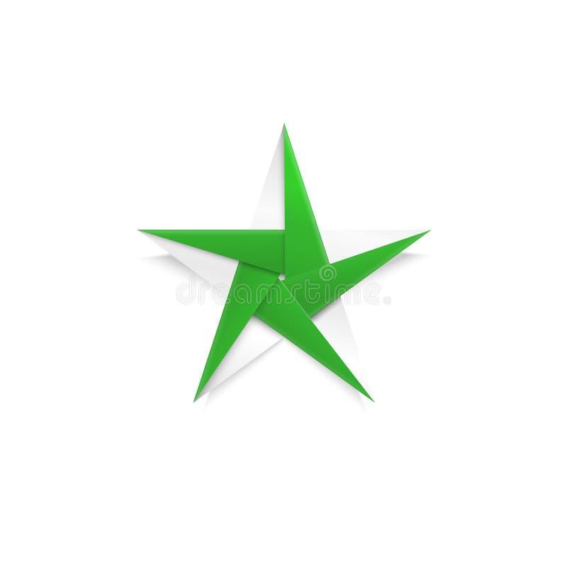 Grüner Origami Weihnachtsstern Dekoration des neuen Jahres in Handarbeit gemacht vom Papier vektor abbildung