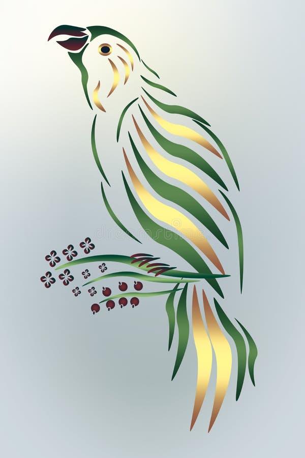 Grüner Papagei auf einem blauen Hintergrund lizenzfreie abbildung