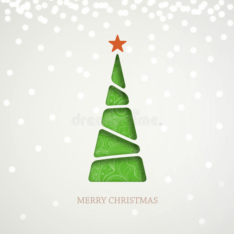 Grüner Papierweihnachtsbaum auf hellem Hintergrund mit Schein, Glanz und Schatten stock abbildung