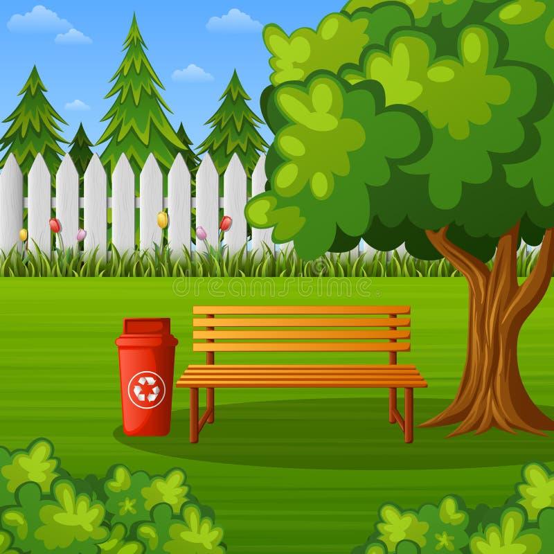 Grüner Park mit Holzbank und Abfalleimer lizenzfreie abbildung