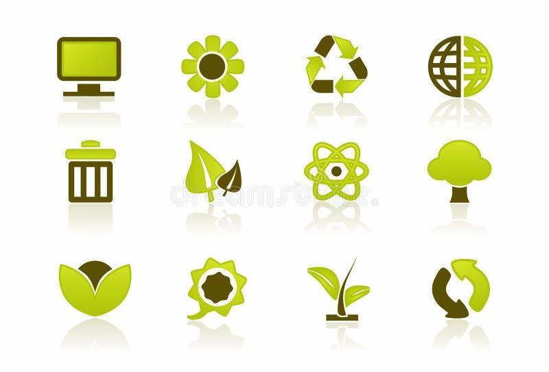 Grüner PC/ES Ikonen-Set lizenzfreie abbildung