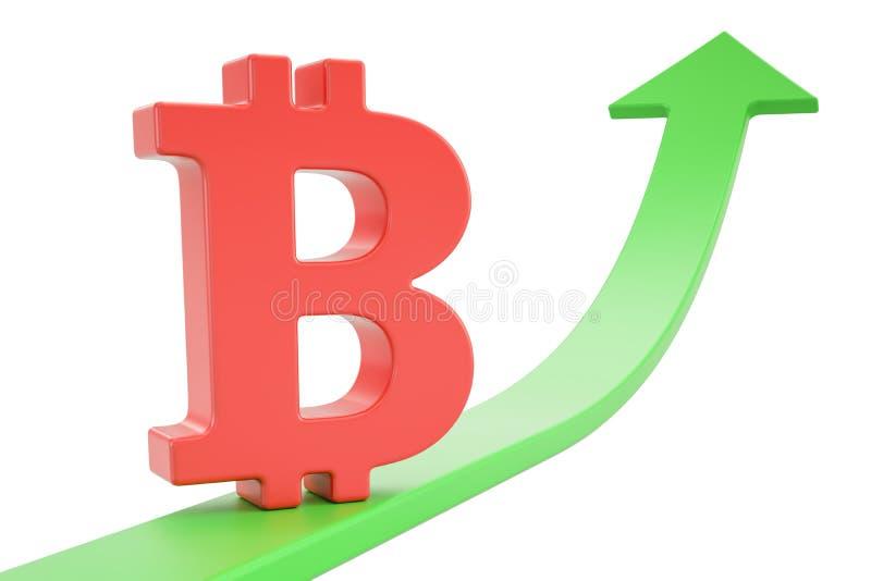 Grüner Pfeil des Wachstums mit bitcoin Symbol, Wiedergabe 3D vektor abbildung