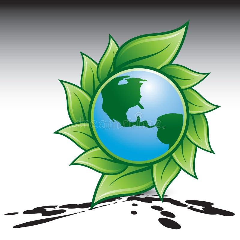 Grüner Planet auf splattered Boden lizenzfreie abbildung