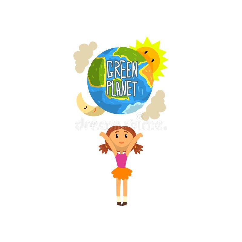 Grüner Planet und nettes glückliches Mädchen, retten den Planeten, Ökologiekonzept-Vektor Illustration auf einem weißen Hintergru lizenzfreie abbildung
