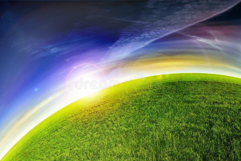 Grüner Planetensonnenuntergang stock abbildung
