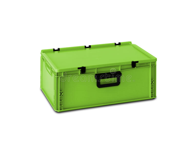 Grüner Plastikkasten lizenzfreie stockfotos