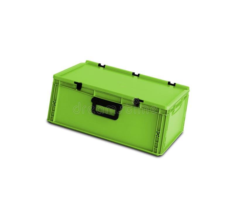 Grüner Plastikkasten lokalisiert auf Weiß stockbilder