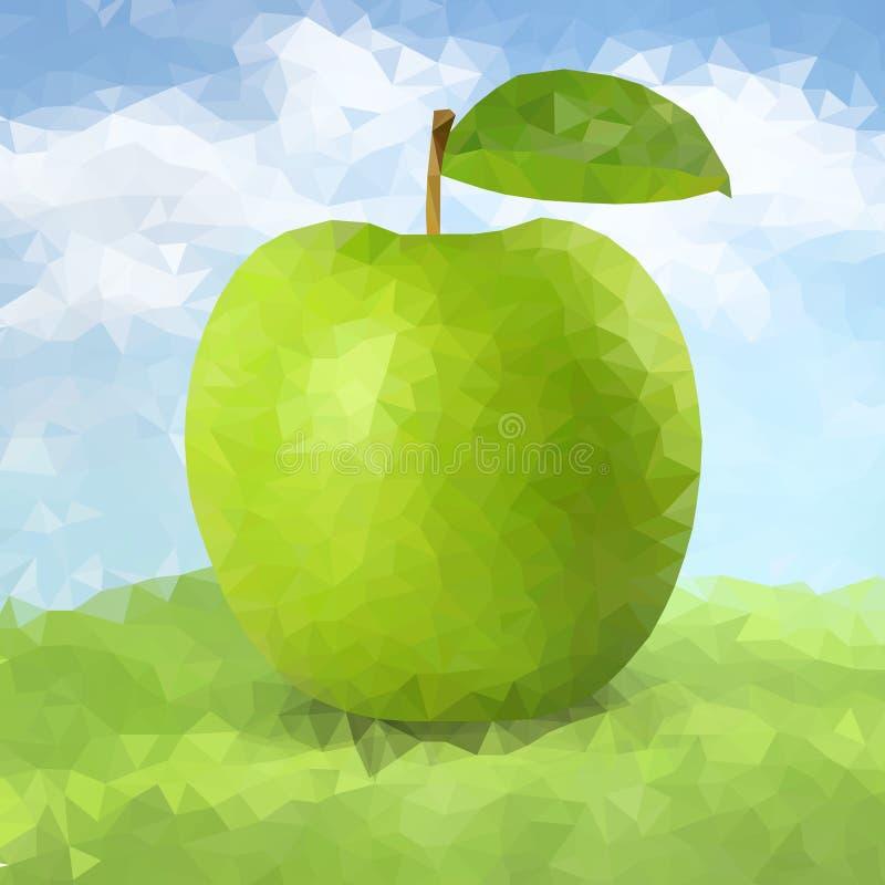 Grüner polygonaler Apfel des Vektors vektor abbildung