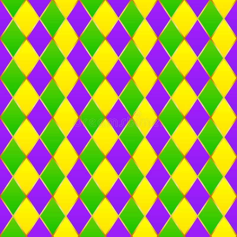 Grüner, purpurroter, gelber Gitter Karneval nahtlos lizenzfreie abbildung