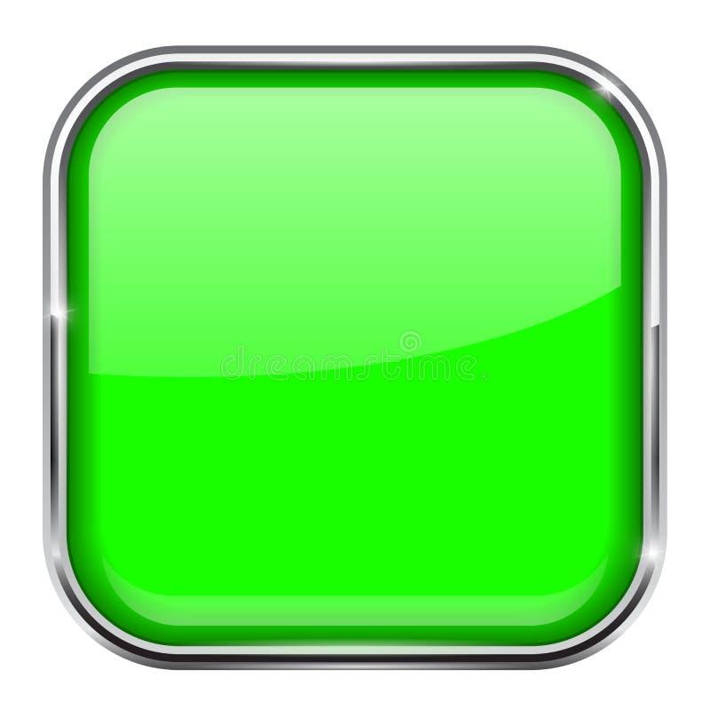 Grüner quadratischer Knopf Glänzende Ikone 3d mit Metallrahmen vektor abbildung