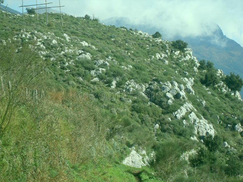Grüner Rasen auf dem Berg Faito in Italien stockfotos