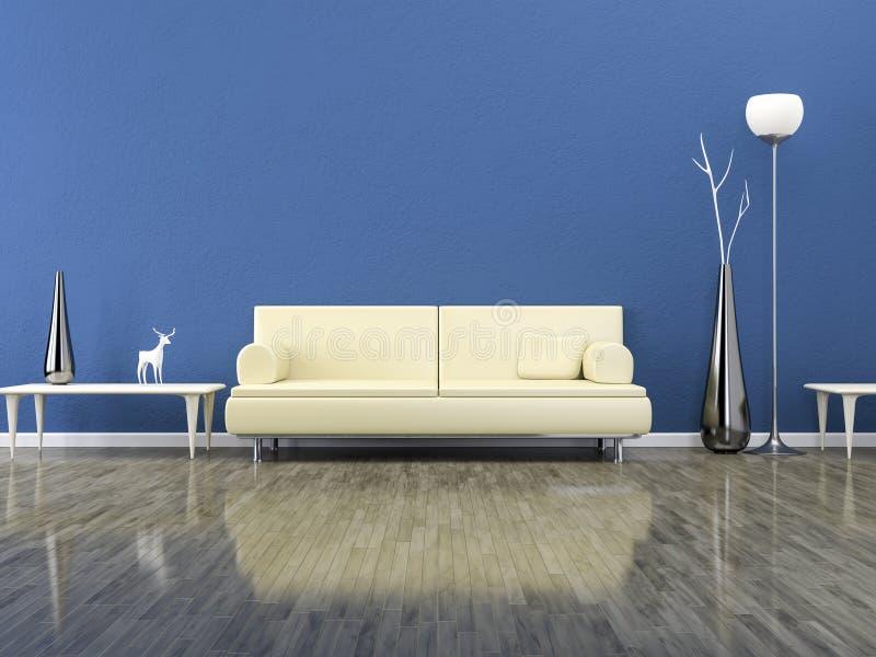 Grüner Raum mit einem Sofa stock abbildung