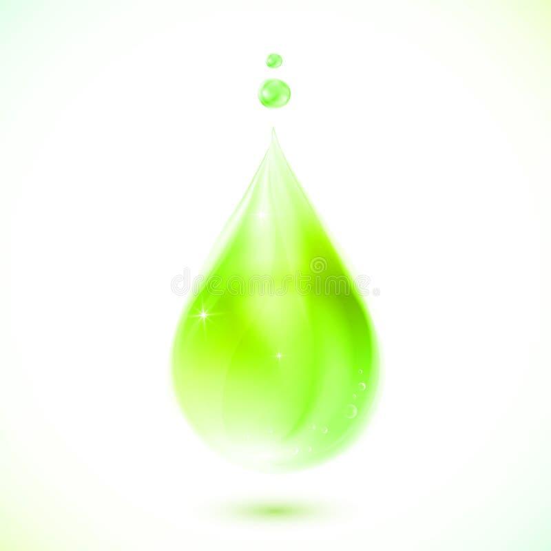 Grüner realistischer Vektoröltropfen vektor abbildung