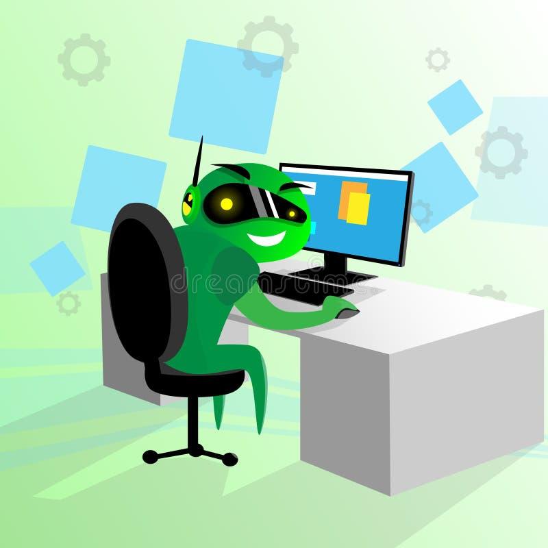 Grüner Roboter Sit Desk Using Computer Technology stock abbildung