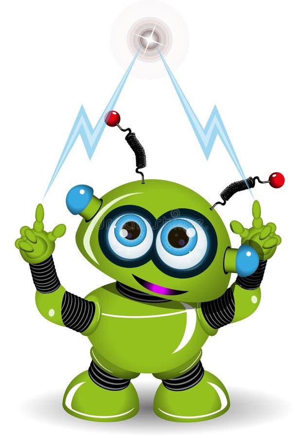 Grüner Roboter und Blitz lizenzfreie abbildung