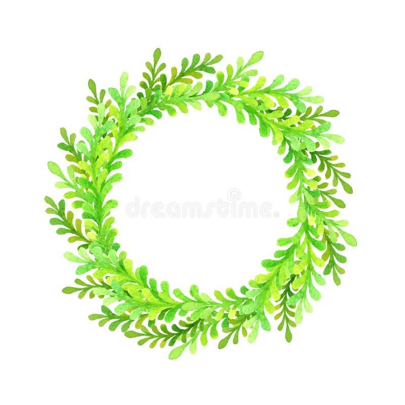 Grüner runder Aquarellrahmen stock abbildung