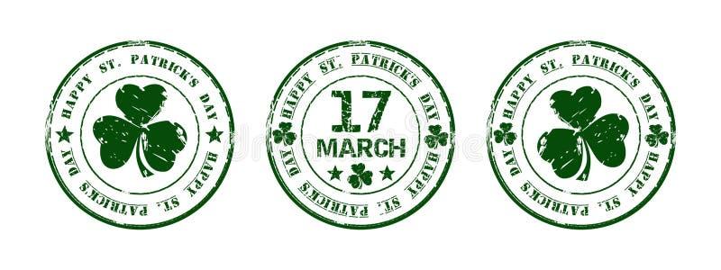 Grüner runder Stempel für Tag St. Patricks lizenzfreie abbildung