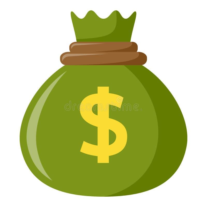 Grüner Sack der Geld-flachen Ikone auf Weiß lizenzfreie abbildung