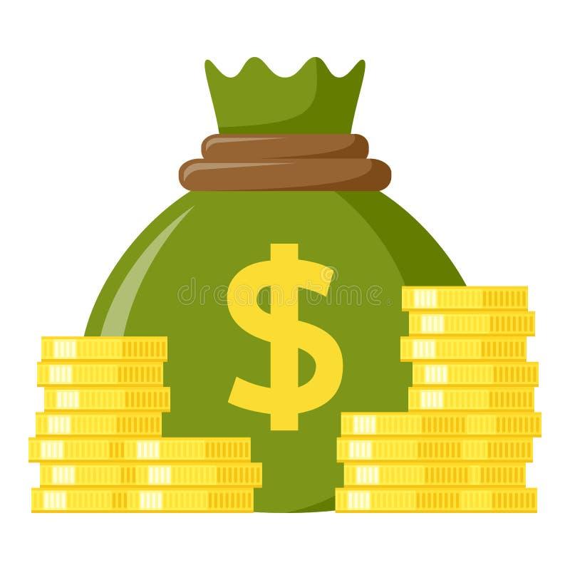 Grüner Sack der Geld-u. Münzen-flachen Ikone stock abbildung