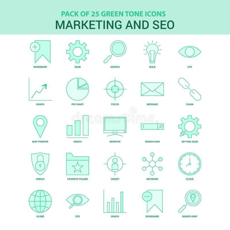 Grüner Satz des Marketings 25 und SEO Icons lizenzfreie abbildung