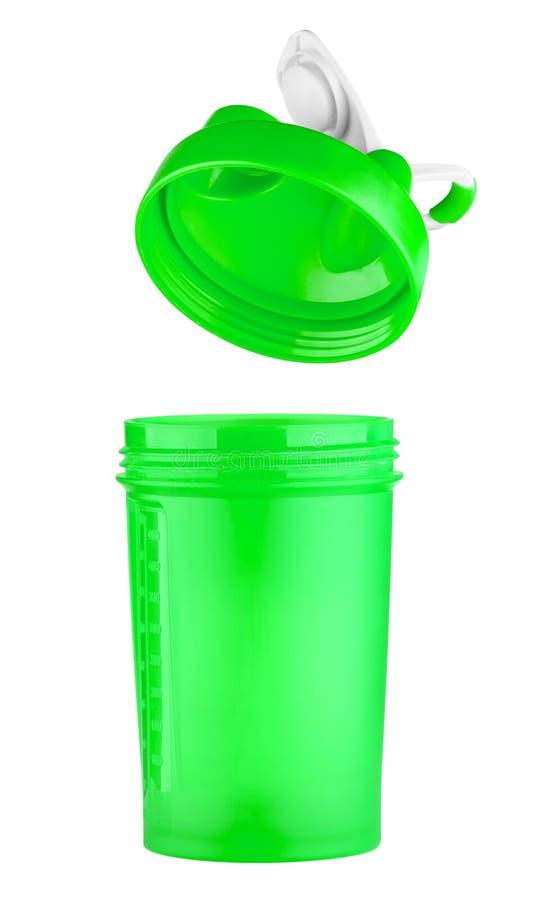 Grüner Schüttel-Apparat für Sportnahrung mit einem offenen Deckel stockbild