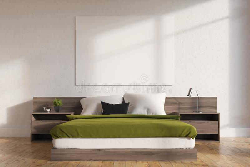Grüner Schlafzimmerinnenraum, Plakat vektor abbildung