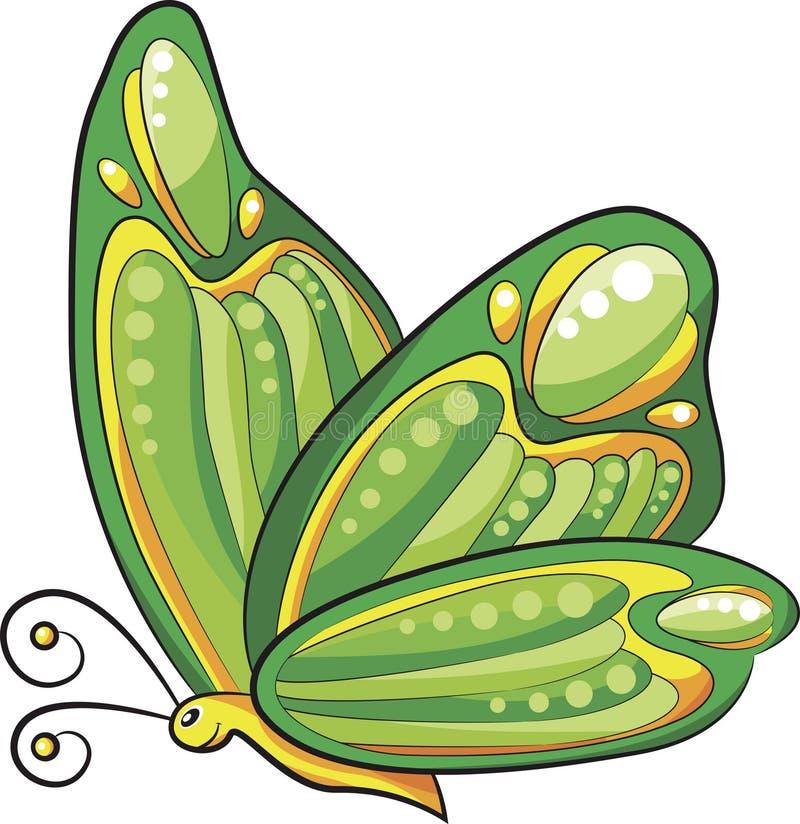 Grüner Schmetterlingskarikaturvektor lizenzfreie abbildung