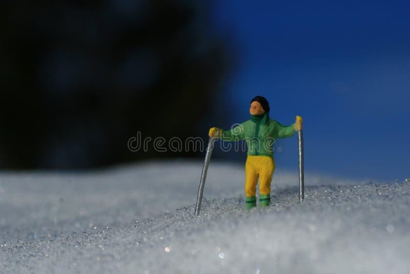 Grüner Skifahrer lizenzfreie stockfotos