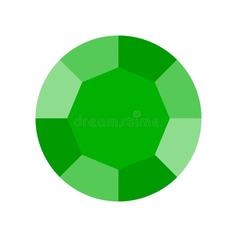 Grüner Smaragd, in Verbindung stehende Ikone des Schmucks, flacher Entwurf stock abbildung