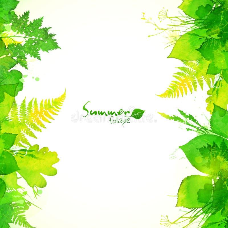 Grüner Sommerlaub-Vektorhintergrund lizenzfreie abbildung