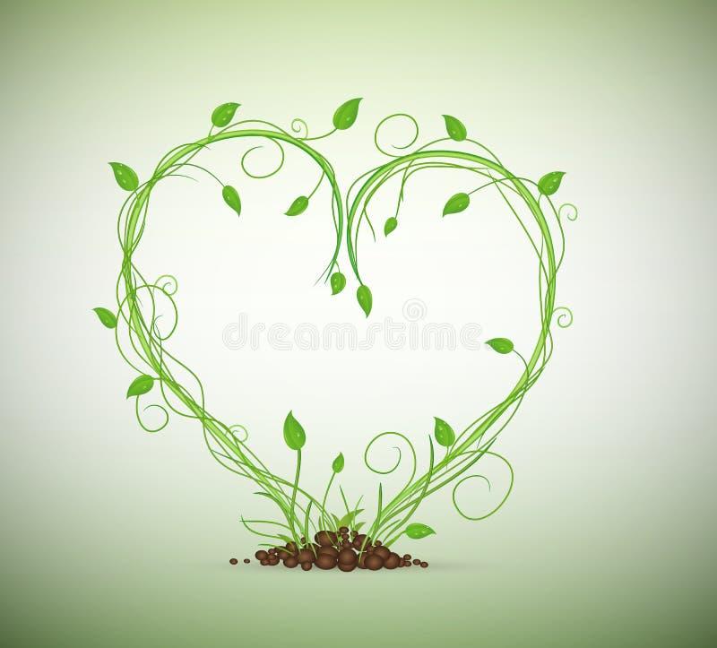 Grüner Sprössling in der Hitzezusammensetzung, stock abbildung