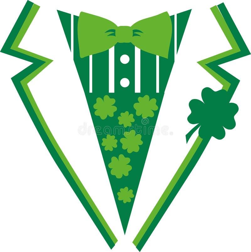 Grüner St- Patrick` s Tagesanzug mit Fliege stock abbildung