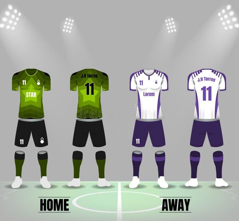 Grüner Stern und weiße purpurrote Fußballuniformen im vorderen und hinteren Si vektor abbildung