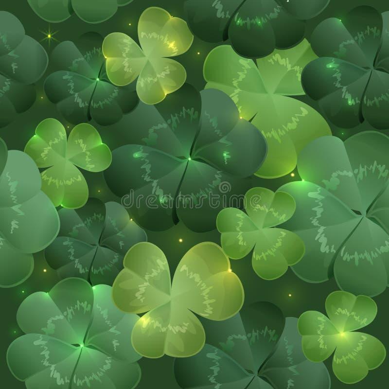Grüner Stoff verlässt Klee nahtloses Muster vektor abbildung