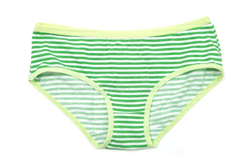 Grüner Streifen-Schlüpfer lokalisiert auf weißem Hintergrund stockfotos