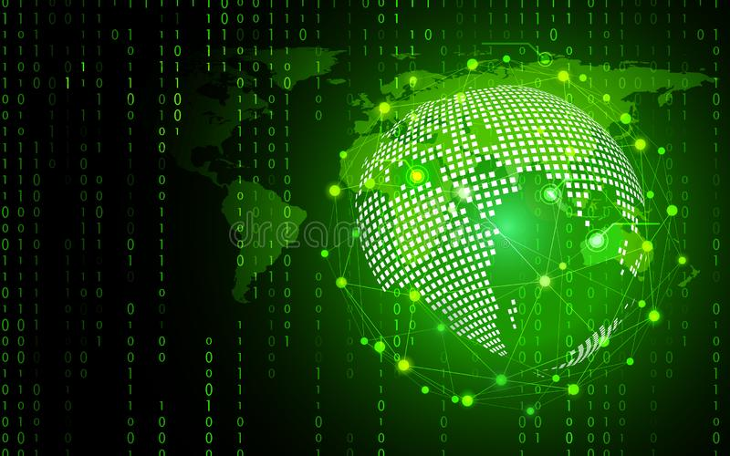 Grüner Technologiekreis und abstrakter Hintergrund der Informatik mit binär Code-Matrix Gesch?ft und Verbindung Futuristisch und vektor abbildung